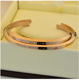 Wholesale Men Gold Chains 18k - new DW Bracelets Cuff Rose Gold Silver Bangle 100% stainless steel Bracelet Women and Men Bracelet pulsera
