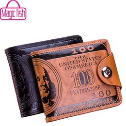 Wholesale Magic Purses - Wholesale- Magic fish men wallet leather purse designer short style Wallets male Purse Clutch high quality Purses 2016 fashion bag LM3854mf
