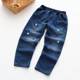 Wholesale Light Head Clothing - 2017 new fashion kids clothing high quality autumn children trousers girls cartoon head pants embroidered jeans