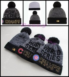 Wholesale Cheap Knitted Beanies Pom - World Series Chicago Cubs Beanie Champs Pom Knit Hats Sports Caps For Men Women Cheap Winter Wool Beanies