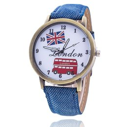 Wholesale Buses Steels - 2017 Fashion Union Flag London Bus Watch Relogio Feminino Women Wristwatch Casual Luxury Jeans Watches free shipping