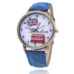 Wholesale London Flag Fashion - 2017 Fashion Union Flag London Bus Watch Relogio Feminino Women Wristwatch Casual Luxury Jeans Watches free shipping
