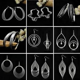 Wholesale Earrings Heart Hoops - New Exaggerated Geometry Hoop & Huggie Earrings European and American Fashion Jewelry Geometric Tassel Earrings Free shipping