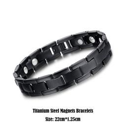 Wholesale Titanium Health Bracelets - Real Titanium Steel Jewelry Healing Magnetic Health Care Bangle Fashion White Bio Magnets Bracelet Men Black Cuff Wristbands 22cm*1.25cm