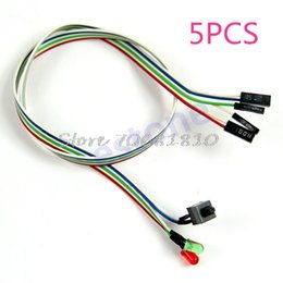 cables de alimentación atx Rebajas Al por mayor-5Pcs caja de sobremesa de escritorio ATX encendido interruptor de reinicio del cable con HDD luz LED para computadora PC -R179 envío de la gota