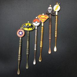 Wholesale Sticker Jar - 5Pcs Dabber tool with fashion deign stickers Pokeball,Batman,Captain,superhero,Flash and Skull wax Dabber tool Jars Tool