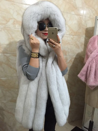 Wholesale Fur Imitation Vest - 2017 Spring new women hooded fur coat silver fox imitation fur vest plus size ladies fox fur coat