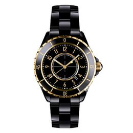 Wholesale Fashion Roses - Luxury Brand Lady White Black Rose Gold Ceramic Watches High Quality Quartz Wristwatches For Women Fashion Exquisite Women Watches