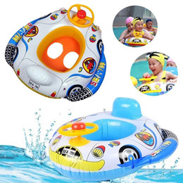 Wholesale Inflatable Pool Games - 1 Pc Children Safe Inflatable Float Boat Toys Baby Cute Cartoon Car Pattern Swimming Pool Kids Fun Water Sports Game Summer Gift