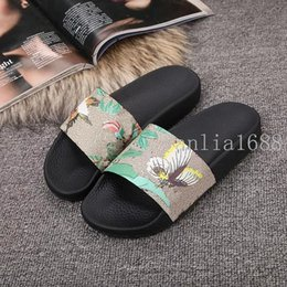 Wholesale Flat Ivory Sandals - 2017 mens and womens fashion animal bee tiger printing leather slide sandals male female beach slippers size euro 35-45