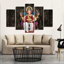 Wholesale Elephants Wall Decor - (No frame) 5 Panel Ganesh Elephant GOD Painting Buddha Mandala wall art poster prints Pictures home Decor gifts