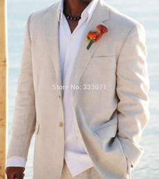 Wholesale Groomsmen Beach Wedding - Wholesale- Simple Linen Suits Men Wedding Tuxedos Custom made Grooms Tuxedos Mens Suits Slim Fit Beach Groomsmen Suits Jacket+Pants