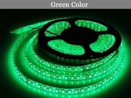 Wholesale Glue Led Strip - Wholesale- LED light 2835 green DC12V 5M 60led=1 meter 300led=5 meter=1roll 3led=1 scissor Flexible Glue waterproof IP65 led strip 2835