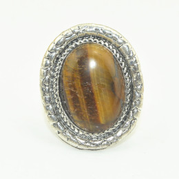 Wholesale Tiger Ring Band - R034 Multi-stone Free Size Ring 1PC Vintage look Antique Silver Oval Turquoise Tiger Amethyst Stone Adjustable Finger Ring