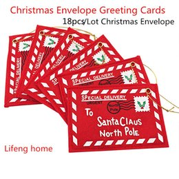 Wholesale wholesale greeting card envelopes - New Red 18Pcs  Lot Christmas Envelope Christmas Greeting Cards Candy Bag Perfect Christmas Gifts For Friends