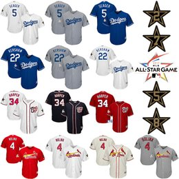 Wholesale Los Angeles Dodgers Corey Seager Clayton Kershaw Nationals Bryce Harper St Louis Cardinals Yadier Molina MLB All Star Game Jersey