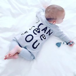 Wholesale Funny Pajamas - Funny Letter Baby Onesies Gray Jumpsuit Toddler Pajamas Romper Best Fashion Selling Lovely Baby Clothing Factory Clothes free shipping 3-18M
