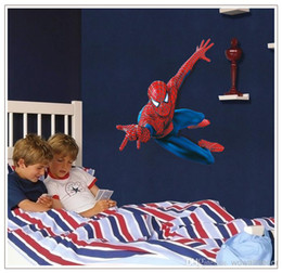Wholesale Wholesale Baby Asia - Large PVC Cartoon Spiderman Baby Wall Stickers for Kids Nursery Rooms Decorative Wall Decal Paper Lego Movie Poster Home Decoration Wall Ar