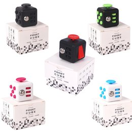 Wholesale Funny Desks - 11 colors Magic Fidget Cube a vinyl desk toy new hot Fidget Cube anti irritability toy magic cobe Funny Stress Reliever Gifts