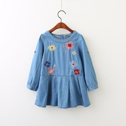 Wholesale Korean Wholesale Baby - Everweekend Girls Floral Embroidered Ruffles Denim Dress Cute Baby Western Korean Fashion Autumn Party Clothing