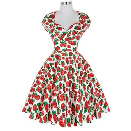 Wholesale Pinup Floral Dress - Wholesale- Summer Dress 2016 Vintage Rockabilly Dresses Jurken 60s 50s Vintage Big Swing Floral Pinup Short Long Audrey Hepburn Dresses