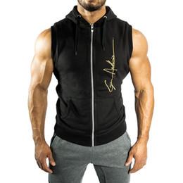 Wholesale Mens Zip Up Hoodie Black - Mens Black Sleeveless Hoodie Sweatshirt Hooded Zip-Up Cotton Vest Coat Jacket Summer Sports Gym Fitness T shirt Tops FYG0441