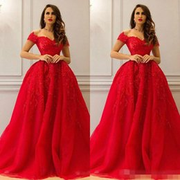 Wholesale Beautiful Red Nude Sleeves - Beautiful Evening Dresses Red Applique Lace Pageant Capped Sequins Train Cheap Ball Gowns 2017 Long Party Prom Dresses Robe De Soiree