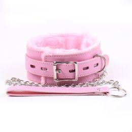 Wholesale Necklaces Bdsm - Fur Collar with Chain Leash Set Restraint Harness Bondage Leather Harness Sex Bdsm Collar And Leash BDSM Choker Necklace Sex Toys