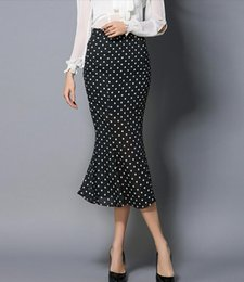 Wholesale Polka Dot Skirt Ladies - New Summer Women Fashion Polka Dot Chiffon Fishtail Skirts Ladies' Sexy Tight Mermaid Skirts Girls Retro High-Waisted Long Ruffled Skirts