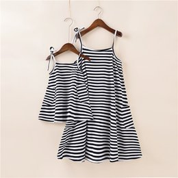 Wholesale half chinese - Striped Dresses Mother and Child Dress Summer Stripe Beach Dress Daughter Family Matching Clothing 7 p
