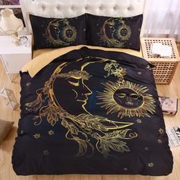 Wholesale Beautiful Duvet Sets - Wholesale- Lightweight BOHO Sun Moon and Stars 3D Bedding Set Duvet cover set Twin queen king Beautiful pattern Real effect