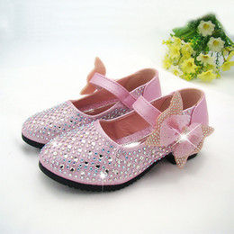 Wholesale Multi Color Crystal Shoes - Fashion Girls Shoes Rhinestone Glitter Leather Shoes For Girls Spring Children Princess Shoes Pink Silver Golden 4 color size 26-36