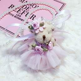 Wholesale Cute Love Dolls - Fashion Cute Kawaii Kids Imitation Pearl Lace Bear Doll Pendent Necklace for Girl Kids Gift Choker Jewelry Accessory Wholesale