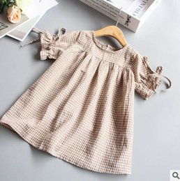 Wholesale baby girl lace blouse - Baby Girls dress shirt fashion girls plaid lace-up bows princess tops children falbala short sleeve dress kids summer cotton blouses T4637