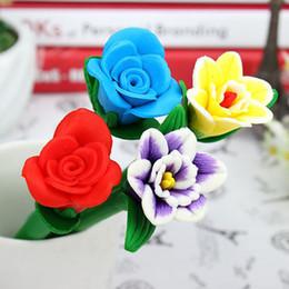 Wholesale Christmas Stationery Free Shipping - Flower Stationery Pen Rose Carnation Polymer Clay Ballpoint Pens Christmas Birthday Gift Desktop Decoration Free Shipping ZA4129