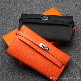 Wholesale New Arrival Women Long Wallet - 2017 New Arrival Women Luxury Wallets First Layer Cowhide Leather Card Holders Designer Lock Wallet Long Purse