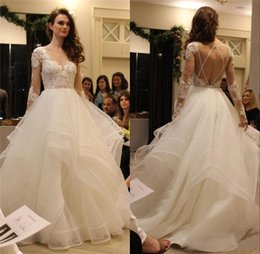 Wholesale Greek Sleeves - 2016 Hayley Paige Boho Backless Wedding Dresses Long Sleeves Cascading Ruffles Tiered Skirt Plus Size China Greek Style Tulle Bridal Gowns
