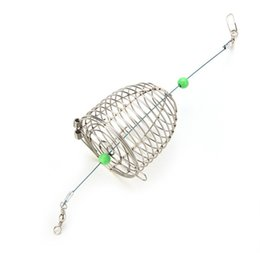 Wholesale Bait Feeder - Wholesale- 1Pc Small Bait Cage Fishing Trap Basket Feeder Holder Stainless Steel Wire Fishing Lure Cage Fish Bait
