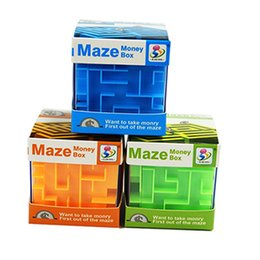 Wholesale Maze Cube Toy - 9 pcs lot color box 3-color children's puzzle magic maze money cans intellectual development 3d three-dimensional maze cube toys puzzle box
