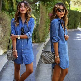 Wholesale Capped Sleeved Dresses - 2016 autumn fashion women blue denim dress casual long sleeved loose asymmetric shirt dresses Vintage Dress Vestidos plus size