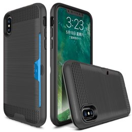 Wholesale Silicon Brushes - For Apple iPhone8 Iphone X Case iPhonex Back Cover Brushed Silicon Card Slot Armor Shockproof case for iPhone 8 Phone case