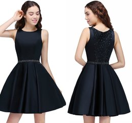 Wholesale Short Cocktail Dresses Sale - Sale Cheap Dark Navy Beaded Short A Line Homecoming Dresses Vintage Jewel Neck Mini Cocktail Party Gowns Homecoming Gowns 2017 CPS88