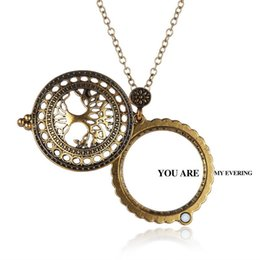 Wholesale Antique Magnifying Glass Chain - New Gold Plated Antique Design Magnifying Glass Pendant Long Chain Necklace for friend children birthday gift