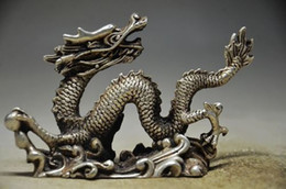 Wholesale Chinese Silver Statue - Exquisite Collection Chinese Tibetan Silver Dragon handmade Auspicious Statue