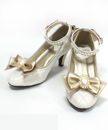 Wholesale Brown Lolita Shoes - Japanese Sweet Round With A Fine Bow Shoes Color Pearl Strap Lolita Cos Soft Sister Women Shoes High Heel Shoes