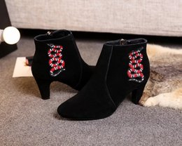 Wholesale Platform Heels 5cm - Luxury Fashion Womens Ankle Boots High Heel 5CM Platform Animal Nubuck Suede Leather Shoes Zip Embroidery Size 35-40