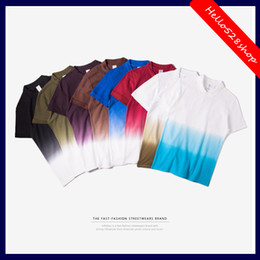 Wholesale Candy Advertising - Fashion Men Clothing 2017 Gradient Culture Casual Tee Shirts Custom Advertising Shirt Candy Color T-shirts male Hot Sale Free shipping