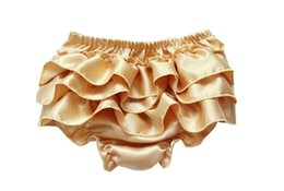 Wholesale Satin Lace Infant Bloomers - Baby Infant Satin Bloomers Girls Boys Baby Pettiskirt Pants Infant petto Lace Briefs Ruffle PP Underpants toddler Girl's bloomer KLX L006