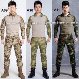Wholesale Emerson Shirts - Wholesale army camouflage suit german military uniform multicam camo combat shirt + emerson tactical pants kryptek paintball equipment black