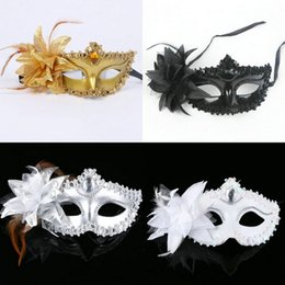 Wholesale Masquerade Feathers - Fashion Women Sexy Hallowmas Venetian eye mask masquerade masks with flower feather Easter mask wedding birthday dance party holiday h22